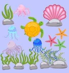 set sea animal in childrens style cartoon fish vector image