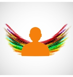 Silhouette of man with colored wings eps10 vector image