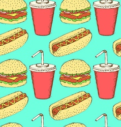 Sketch soda hamburger and hot-dog in vintage style vector