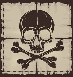 Skull and Crossbones over old damaged map vector image vector image