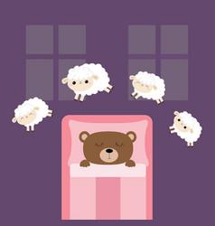 Sleeping bear jumping sheeps cant sleep going vector