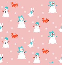 snowman pattern seamless pink background vector image