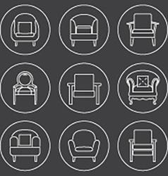 Sofa Icons Set White Line On Black Background vector image