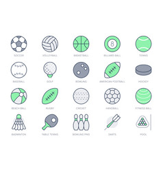 sport balls line icons with vector image