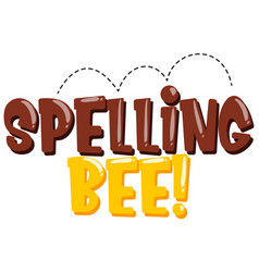 Sticker design for word spelling bee in brown and vector