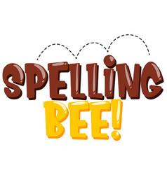 Sticker design for word spelling bee in brown vector