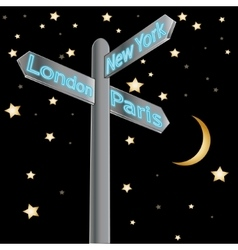 Street sign showing cities - london paris new york vector
