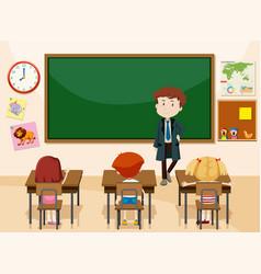 teacher and students classroom scene vector image