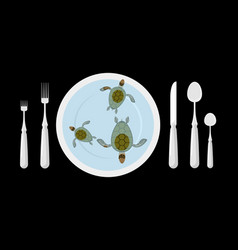 Turtle soup delicatessen food cutlery table vector