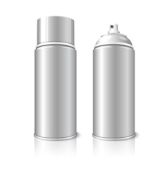 Two realistic blank aerosol spray metal 3D vector image