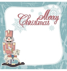 Vintage Christmas Card Merry Christmas lettering vector image