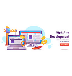 web site development programming or coding banner vector image