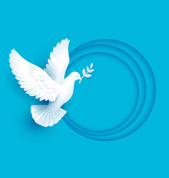 White dove holds twig symbol of peace vector