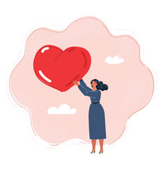 Woman with a big heart vector