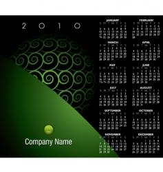 2010 green swirl calendar vector image vector image