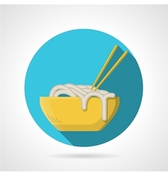Noodles dish flat round icon vector image vector image