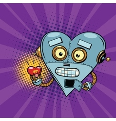 Retro robot and the light bulb heart Valentine vector image