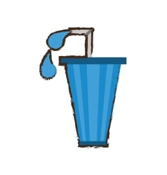 straw soda with drops icon image vector image