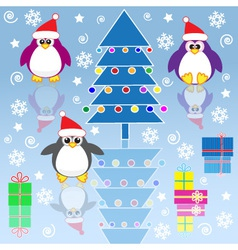 xmas penguins vector image vector image