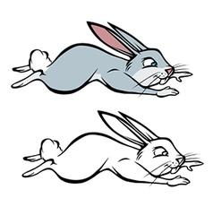 bunny hopping coloring book vector image vector image