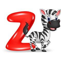 Cartoon of Z letter for Zebra vector image vector image