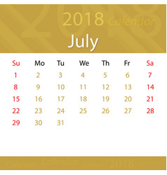 july 2018 calendar popular premium for business vector image vector image