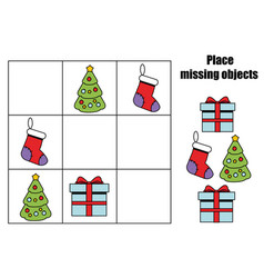 place missing objects in grid kids activity sheet vector image vector image