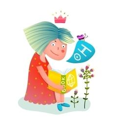 Princess girl reading book vector image vector image