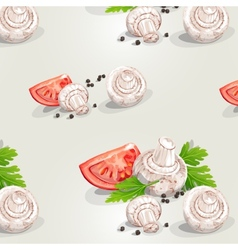 Seamless pattern with mushrooms and tomatoes vector image