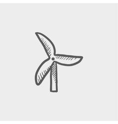 Windmill sketch icon vector image vector image