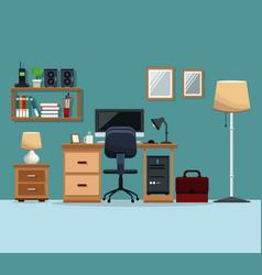 workspace desk chair computer floor lamp mirror vector image vector image