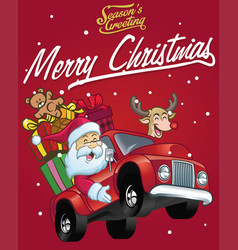 happy santa claus drive a truck full of christmas vector image vector image