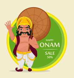 King mahabali happy onam festival in kerala vector