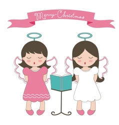 Christmas card with little angels vector image