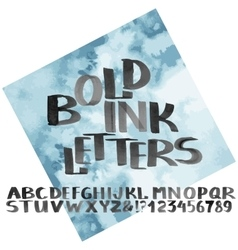 Hand drawn bold ink alphabet vector image