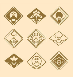 japanese icons floral set vector image vector image