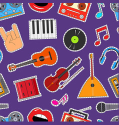 musical instruments and equipment seamless pattern vector image vector image