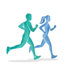 Running man and woman silhouettes vector image vector image