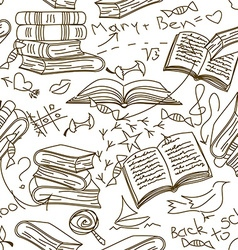 Seamless pattern of books and childrens scribbles vector image vector image