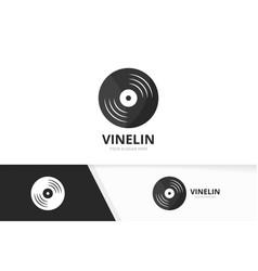 vinyl logo combination record symbol or vector image