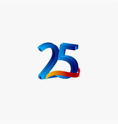 25 years anniversary celebration number blue vector