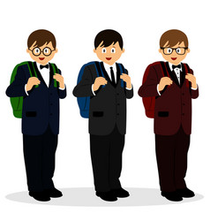 a boy in a suit schoolboy with a schoolbag vector image