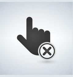 abort or delete hand cursor black icon vector image