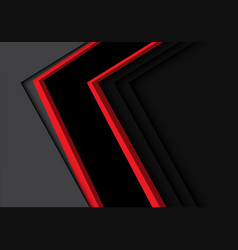 abstract black red line arrow direction on grey vector image