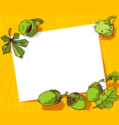 Autumn banner fall season frame with chestnuts vector