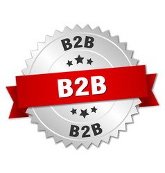 B2b round isolated silver badge vector