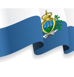 Background with waving San Marino Flag vector