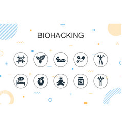 biohacking trendy infographic template thin line vector image