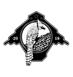 Black and white logo with a bird vector