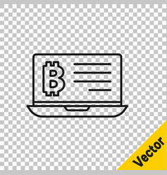 black line mining bitcoin from laptop icon vector image